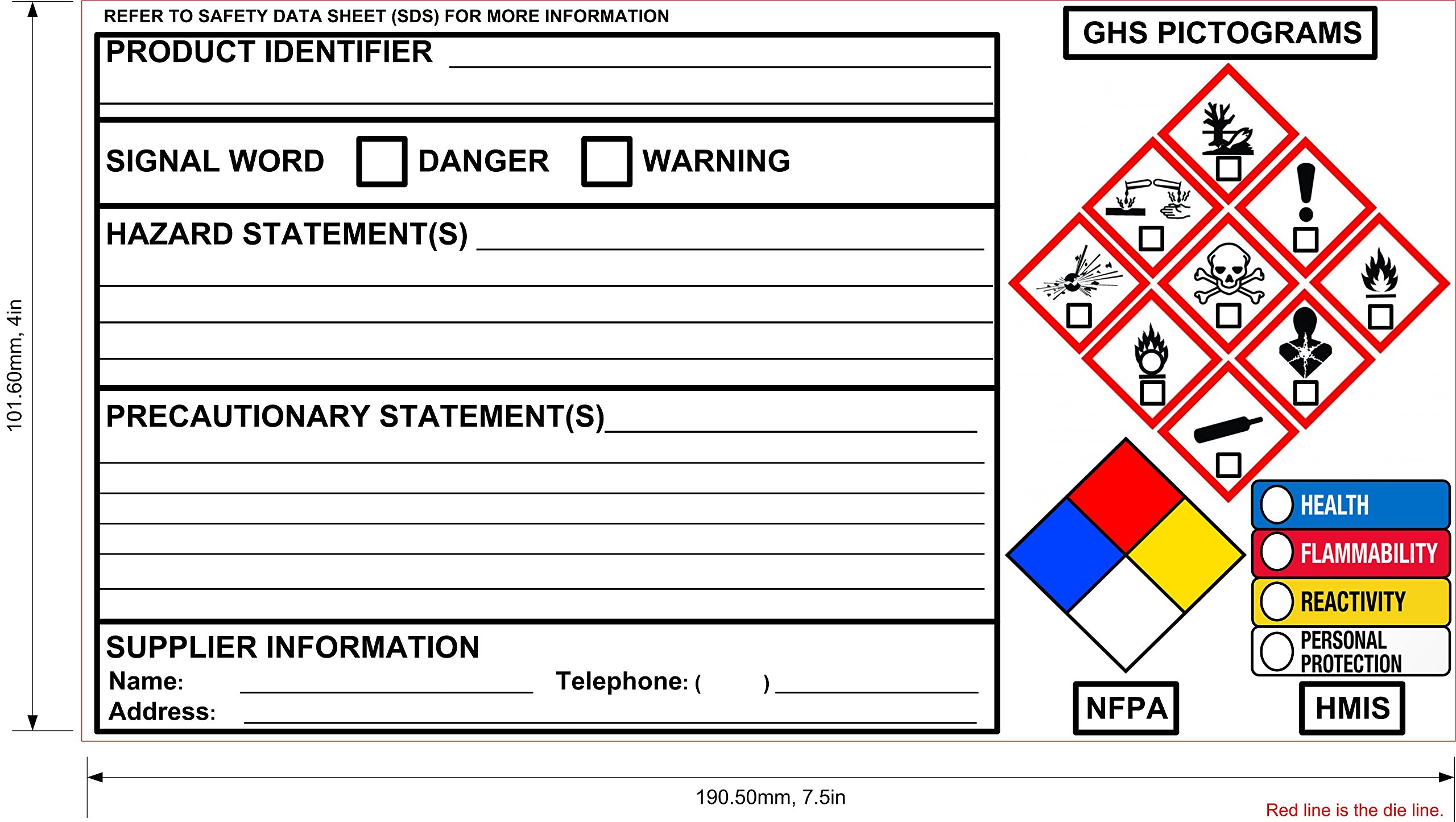 NEW GHS Chemical Label OSHA Label Safety Sign Decal 7.5''x4'', 100 sheets 70 lb. High Gloss (UV)