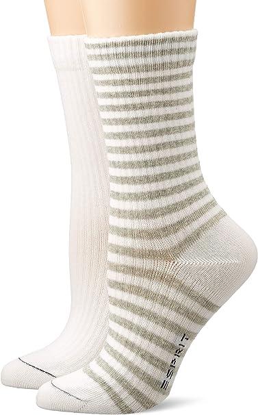 Esprit Socken Sporty Stripe 2 Pack Baumwolle Damen Schwarz Weiß Viele Weitere Farben Verstärkte Damensocken Mit Muster Atmungsaktiv Gestreift Uni Gerippt Bunt Im Multipack 2 Paar Bekleidung