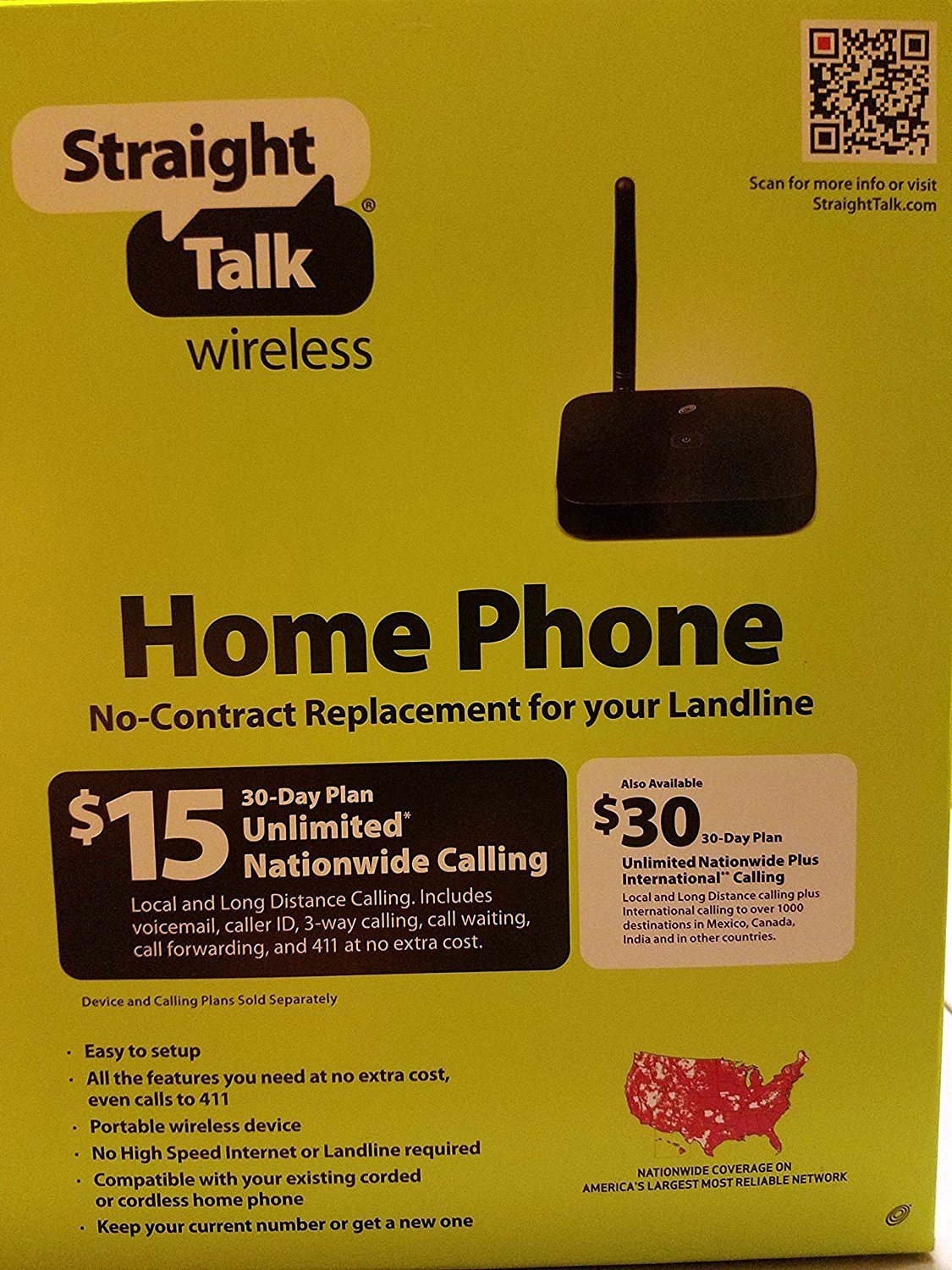 amazoncom straight talk wireless home phone no contract replacement for landline cell phones accessories - Prepaid Long Distance Phone Cards For Landlines