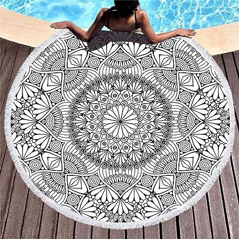 Stillshine Toalla de Playa Redonda Suave con Borla Microfibra Color Brillante Baño Deportivo Toalla de Piscina