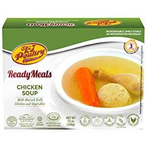 Kosher Mre Meat Meals Ready to Eat, Matzoh Ball Chicken Soup & Vegetables (1 Pack) - Prepared Entree Fully Cooked, Shelf Stable Microwave Dinner – Travel, Military, Camping, Emergency Survival Food