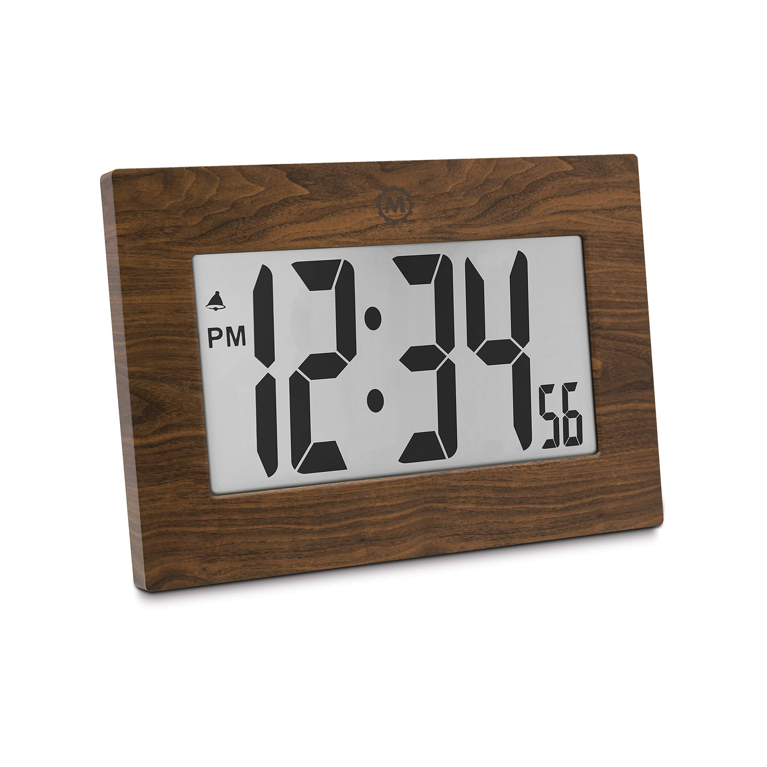 Marathon CL030064WD 9'' Large Digital Frame Clock with 3.25'' Digits - Batteries Included (Wood Tone)