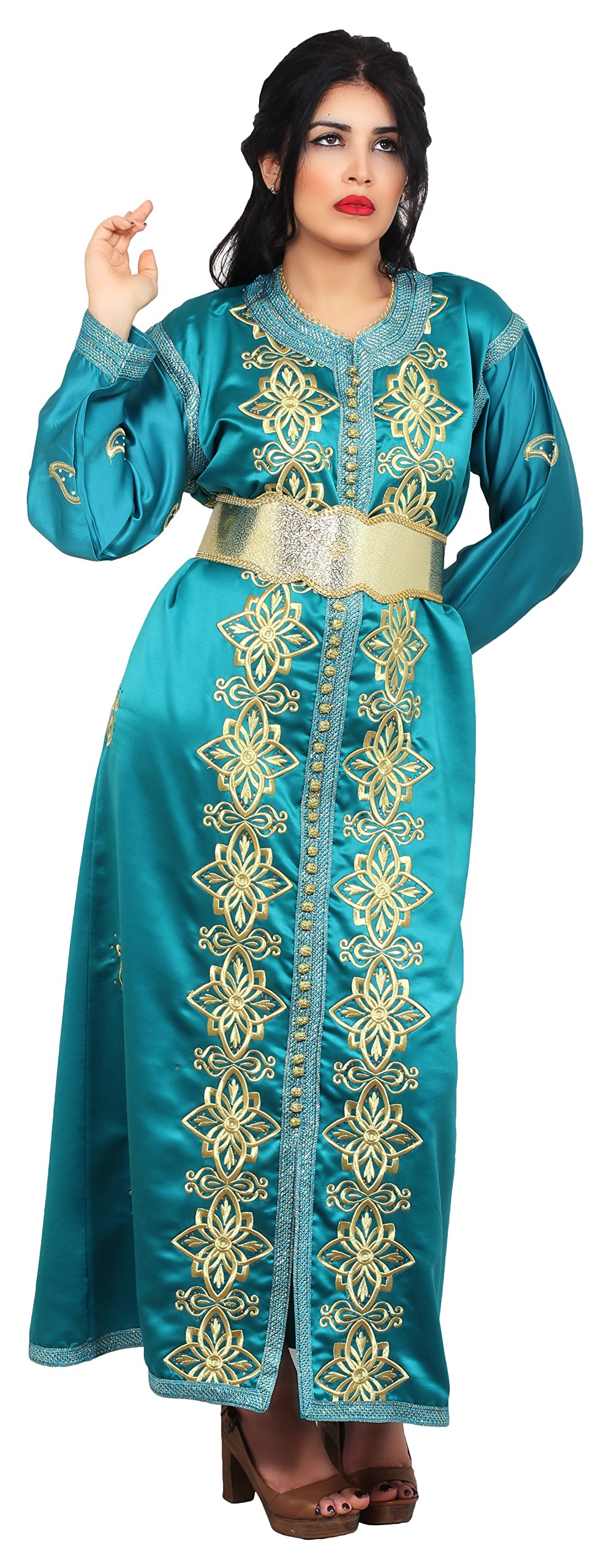 Moroccan Caftan Women Handmade Embroidery SMALL to LARGE Complimentary Belt Teal