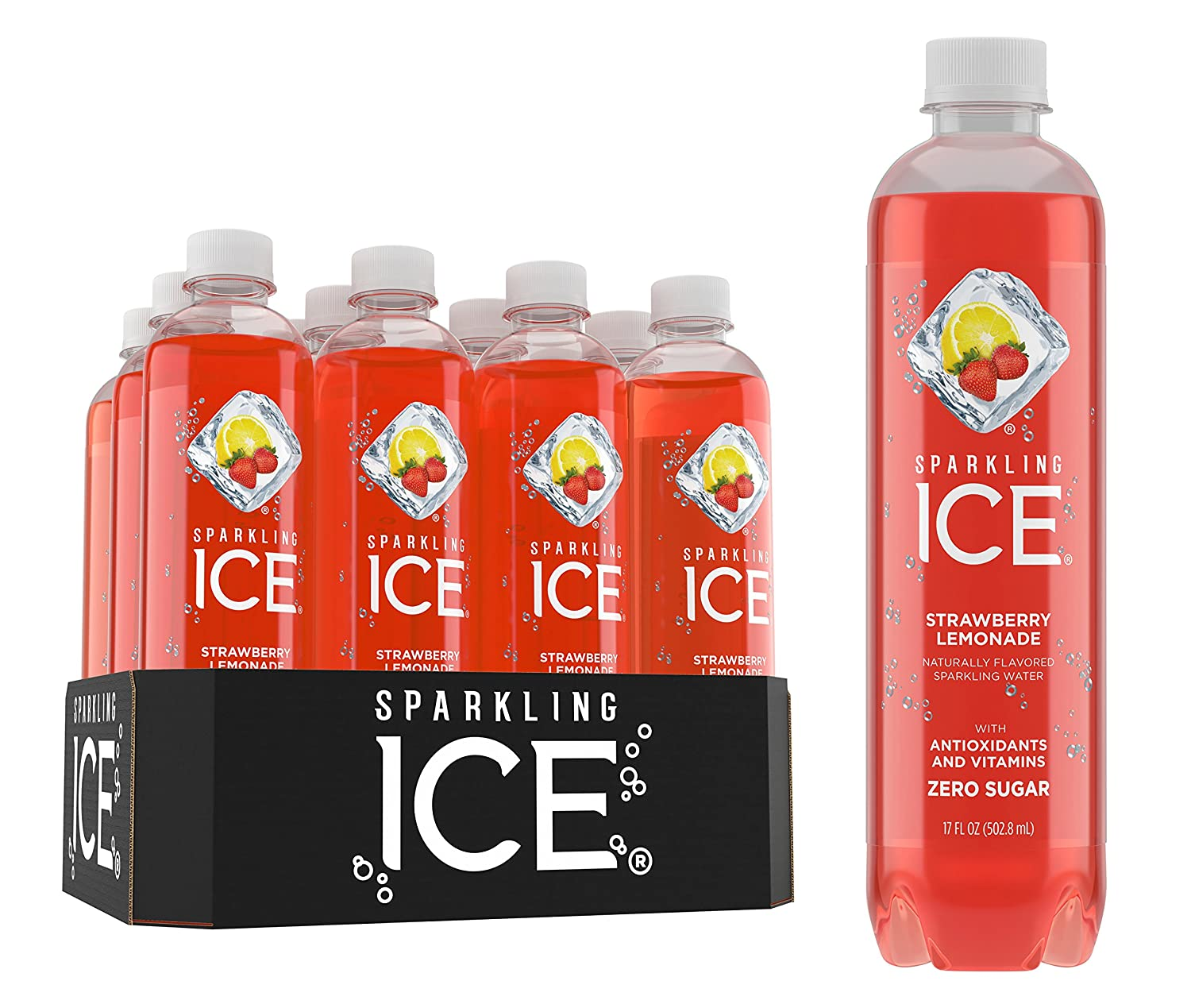 Sparkling ICE Spring Water (Strawberry Lemonade, 17 Oz Pack of 12 Units)