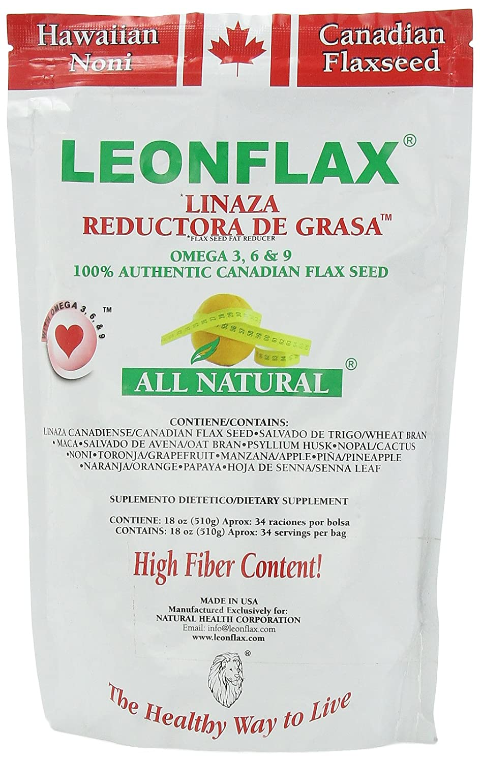Leonflax Canadian Flaxseed Plus Fat Reducer 18 oz Weight Loss