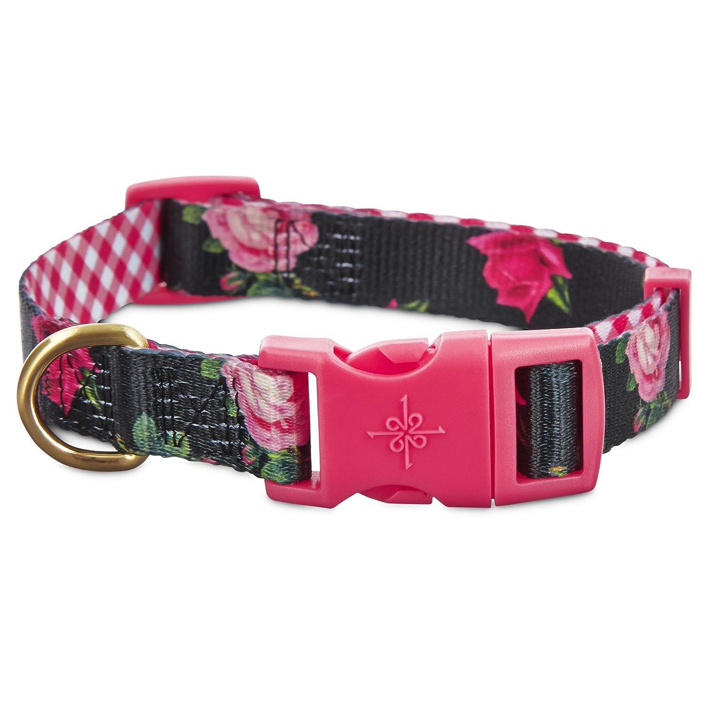 Good2Go Pink Rose Dog Collar Built-in slide for fast easy adjustment Size Large