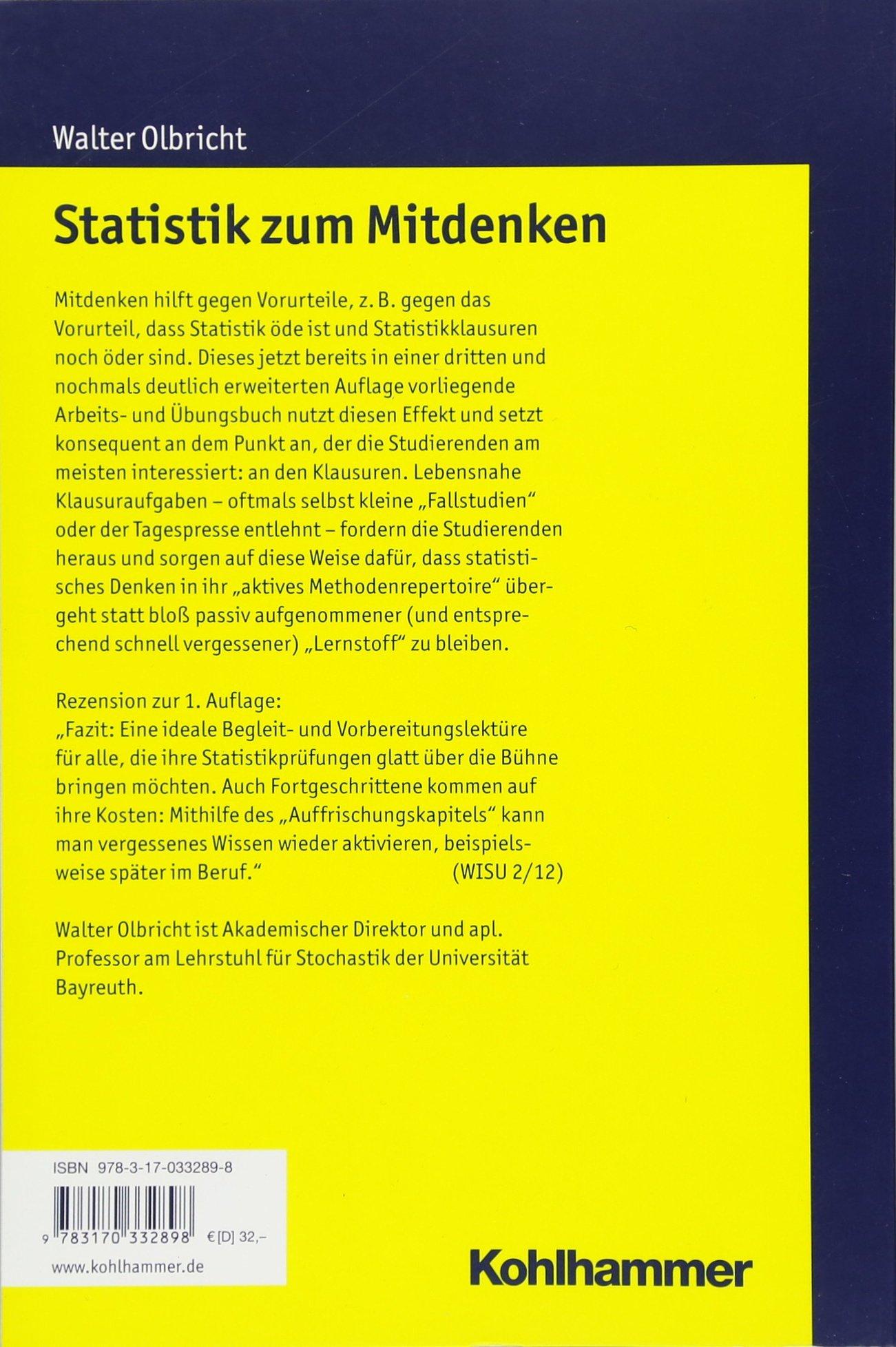Statistik zum Mitdenken: Ein Arbeits- und Übungsbuch: Amazon