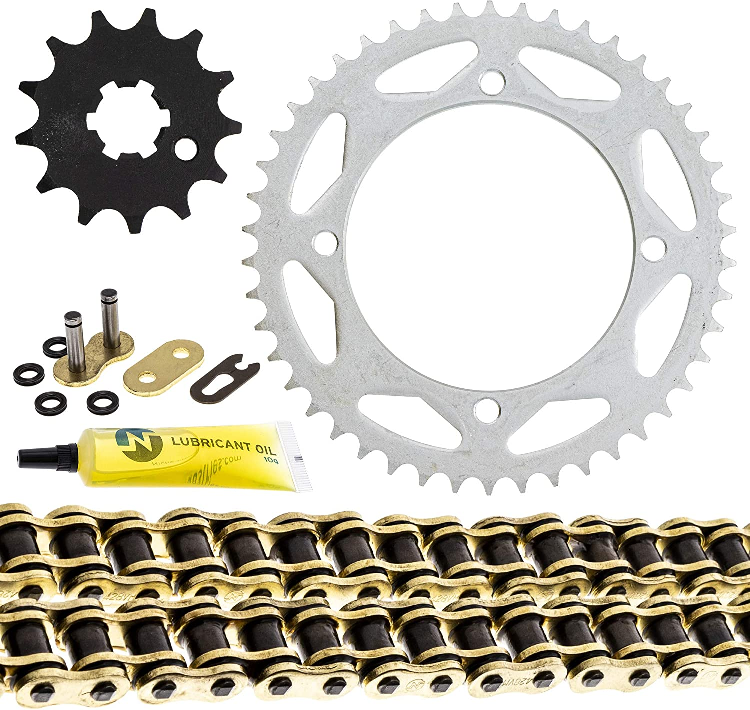 NICHE Drive Sprocket Chain Combo for Kawasaki KX65 Front 13 Rear 46 Tooth 428V O-Ring 108 Links