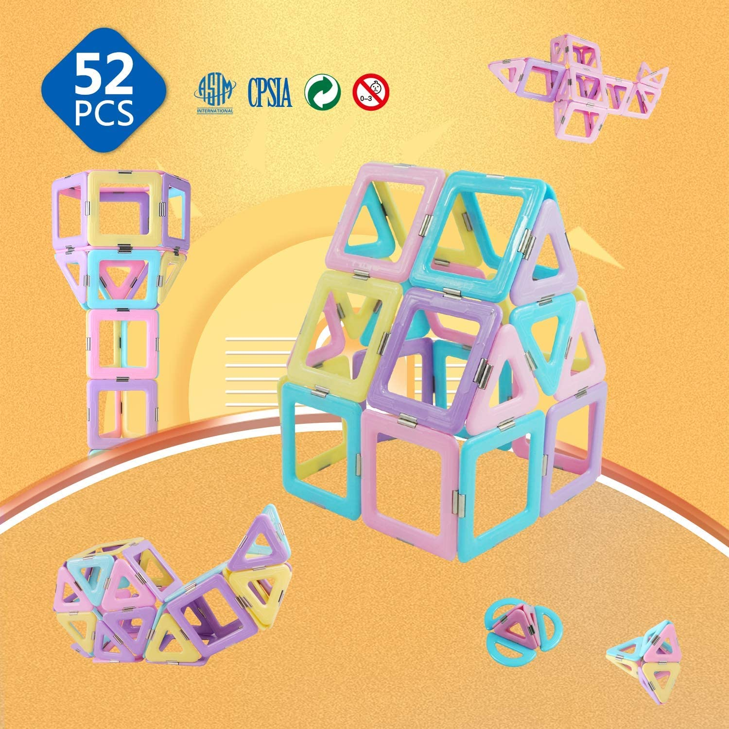 Magnetic 3D Magnet Toys 52 Pieces Set for Toddlers Boys Girls Gift Magnetic Building Blocks with Candy Color Toys: Toys & Games