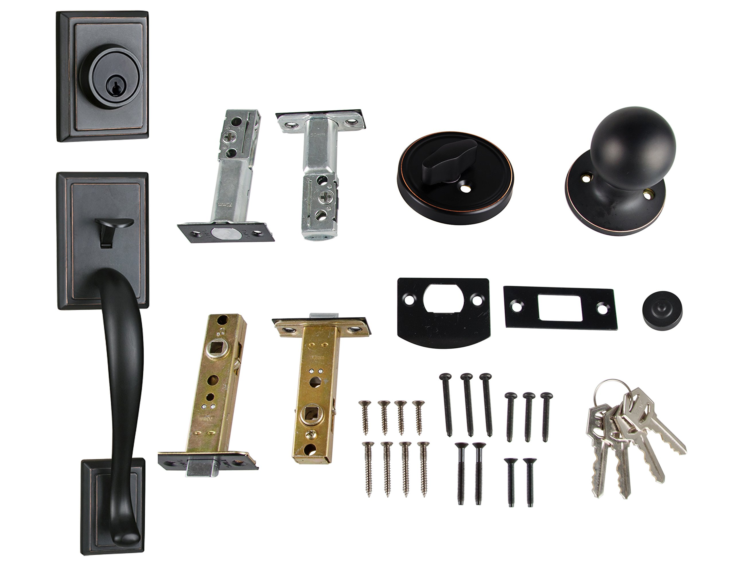 Entry Deadbolt and Handle Single Cylinder Handleset with Knob Handle for Back Entrance and Front Door Reversible for Right and Left Handed Oil Rubbed Bronze Finish, MDHST201310B-AMZ-2 by TMC (Image #7)