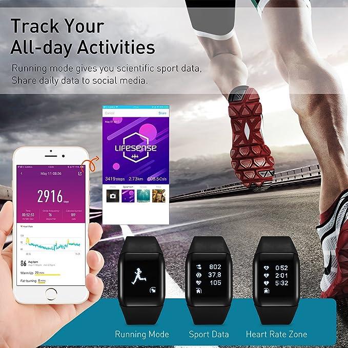Fitness Tracker, Mpow Heart Rate Monitor Tracker con seguimiento ...