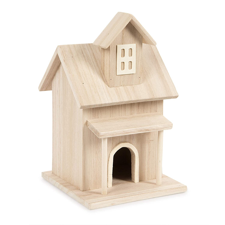 Darice Wood Birdhouse Farm House-8.5X5.3X5.3