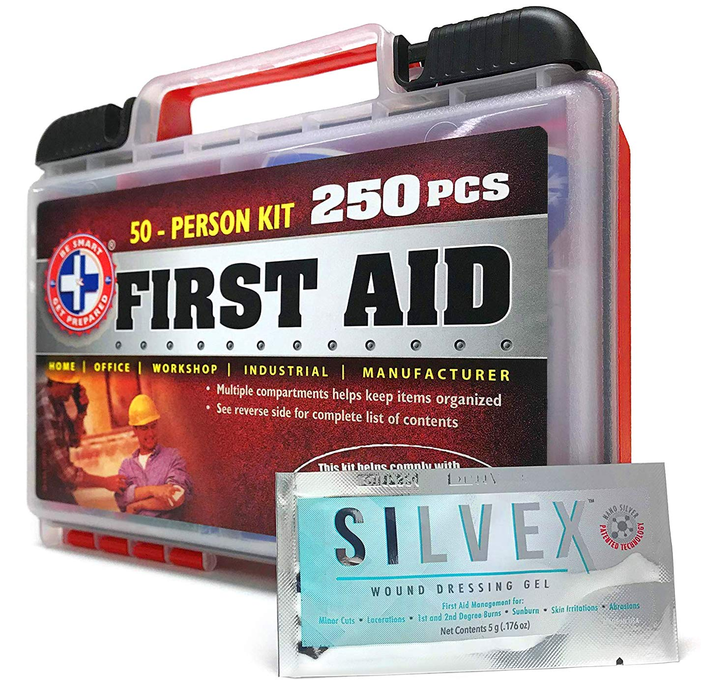 ''Be Smart Get Prepared 250 Piece First Aid Kit, Exceeds OSHA ANSI Standards for 50 People - Office, Home, Car, School, Emergency, Survival, Camping, Hunting, and Sports''