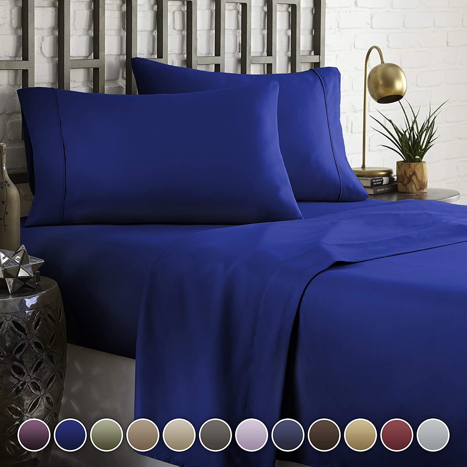 HC COLLECTION Hotel Luxury Comfort Bed Sheets Set, 1800 Series Bedding Set, Deep Pockets, Wrinkle & Fade Resistant, Hypoallergenic Sheet & Pillow Case Set(King, Royal Blue)