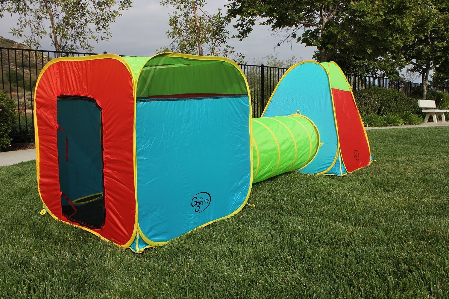 95b0253ab381 G3Elite Kids Play Tent 3 Piece Pop Up Set Foldable with Attachable Tunnel  and Carry Case Indoor/Outdoor Boys/Girls Toddlers Bright Colorful Easy Set  ...