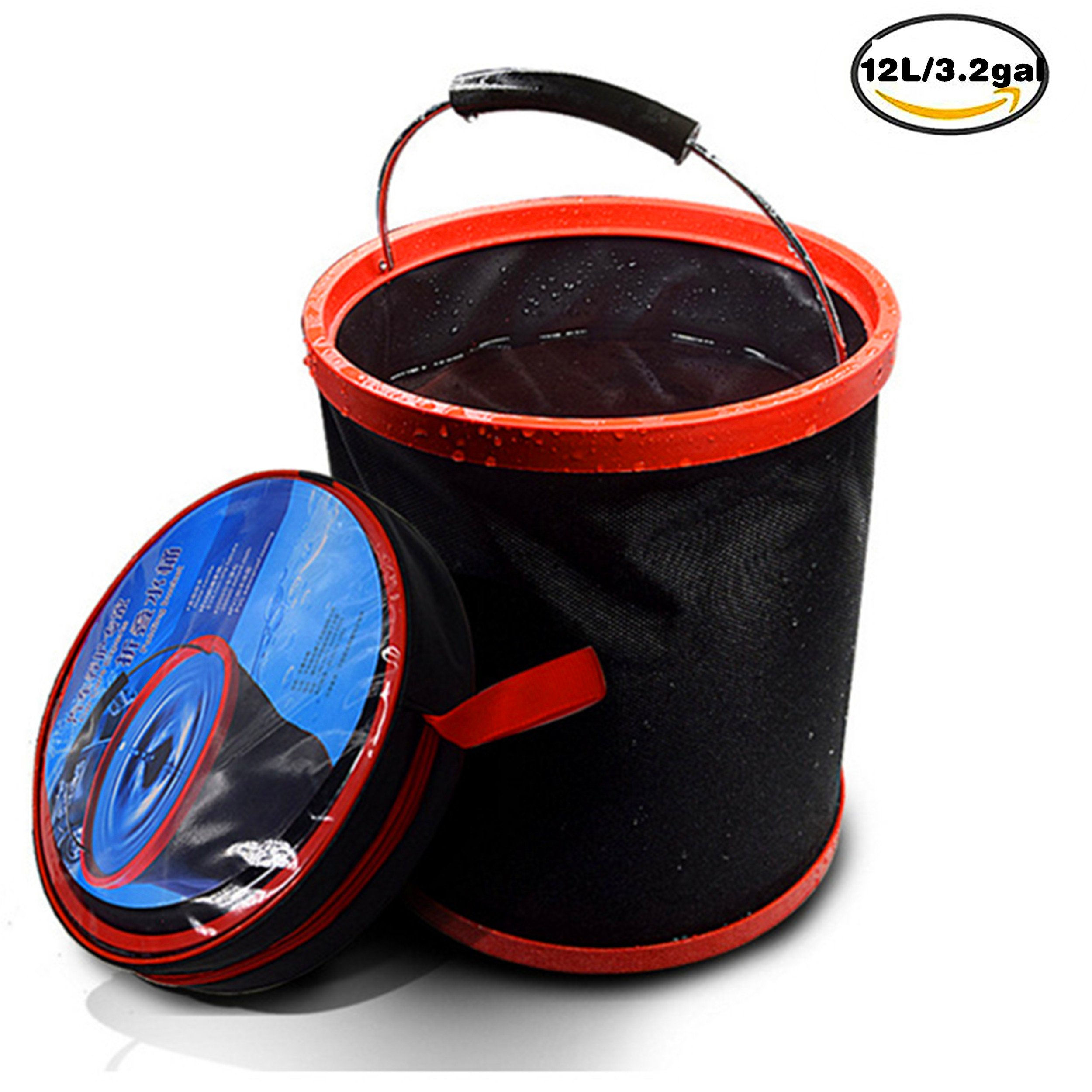 KK5 Water Bucket - 12L Collapsible Camping Water Barrel | Folding Portable Large Tub | Car Cleaning Wash Bucket Pail | For Outdoor Camping, Hiking, Fishing, Washing & Gardening