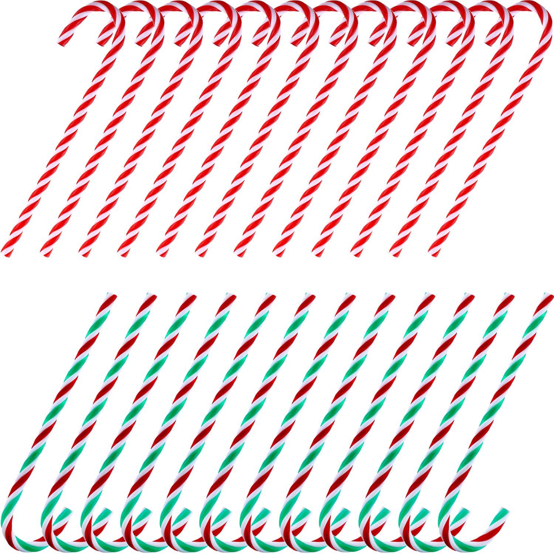 TecUnite 24 Pezzi Natale Acrilico Stampella Giocattolo Contorta Bastoncini di Zucchero per Decorazioni d'Attaccatura dell'Albero di Natale