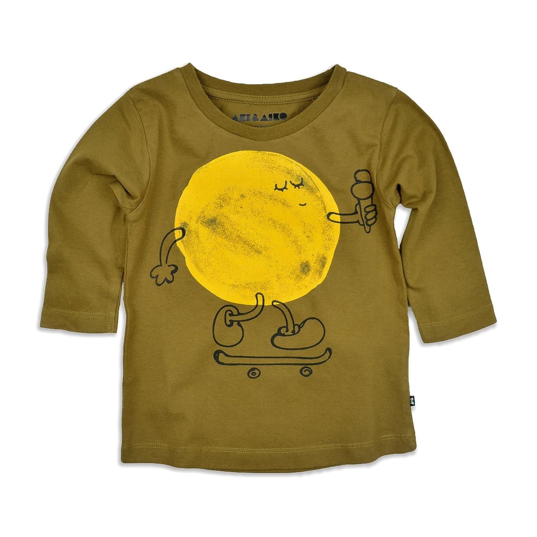 AKI & AIKO Organic Cotton Mr. Sun 3/4 Sleeve Kids T-Shirt (2-7 Years)