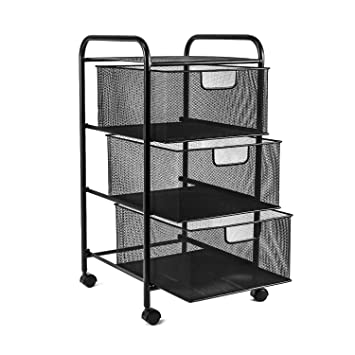 Office Rolling Cart. Yimu Mesh File Cart With 3 Storage Drawers, Tier Metal  Office