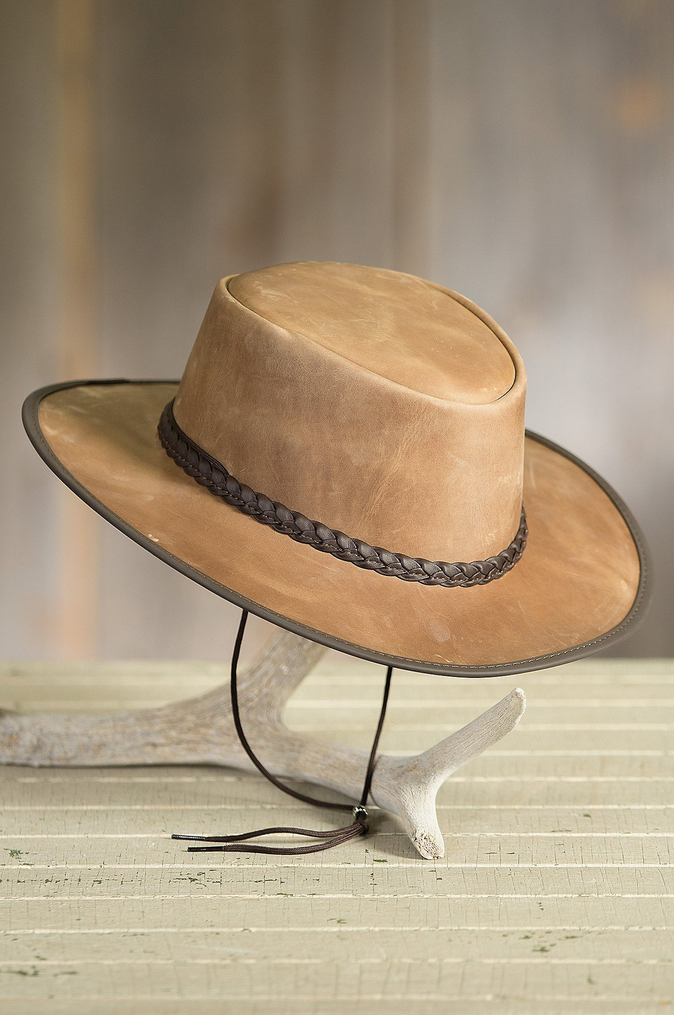 Bravo Leather Cowboy Hat, Pecan, Size XL (7 1/2-7 5/8) by Overland Sheepskin Co (Image #3)