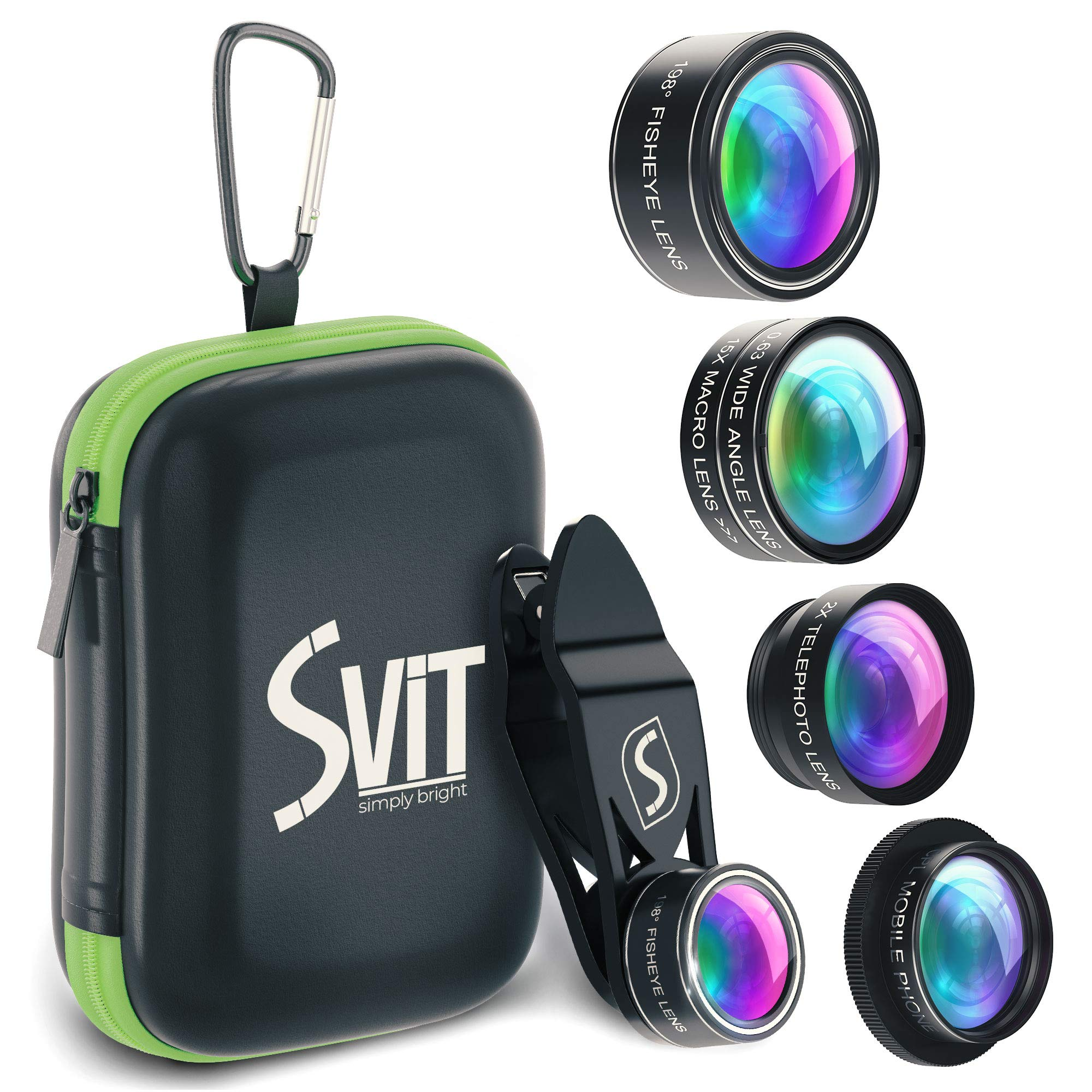 Phone Camera Lens Kit - 5 in 1 Universal Set for iPhone, Samsung, Smartphones and Tablets - 2X Zoom Telephoto, 198 Fisheye, 0.63X Wide Angle, 15X Macro, CPL Filter Lens for Cell Phones