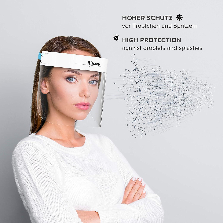 Face Shield mit Anti Beschlag Zertifiziertes Gesichtsschild Made in Germany f/ür Erwachsene Gesichtsvisier Schwarz//Blau HARD 1x Pro Visier Gesichtsschutz aus Kunststoff