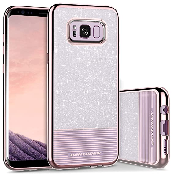 pick up 185b5 dcdfd BENTOBEN Phone Case Compatible with Galaxy S8 Plus, Slim Shockproof Bling  Glitter Stripe TPU PC Hybrid Dual Layer Protective Phone Cases Cover for ...
