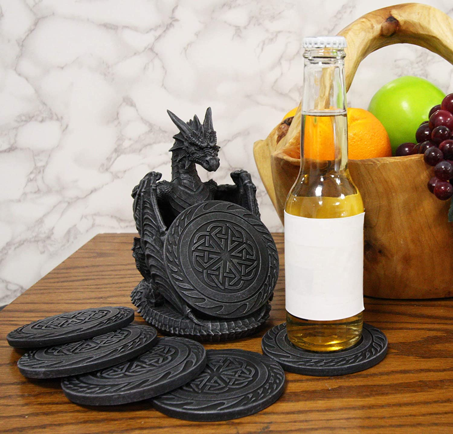 Ebros Gift Gothic Winged Guardian Dragon with Celtic Knotwork Coaster Set Figurine Holder with 6 Round Coasters 6.25