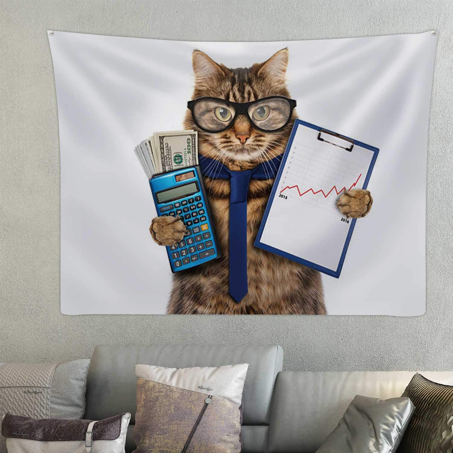 Hitecera Funny Cat with A Folder for Presentations.Domestic Cat,Wall Tapestry for Bedroom Financial Advisor for Decor 59.1X59.1