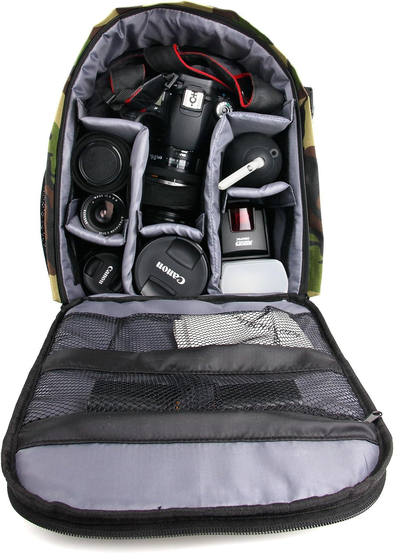 Sigma sd Quattro // Quattro H appareils photo SLR et leurs accessoires Sac /à dos r/ésistant /à leau motifs camouflage pour Canon EOS 500D compartiments modulables 80D et EOS-1D X Mark II 400D