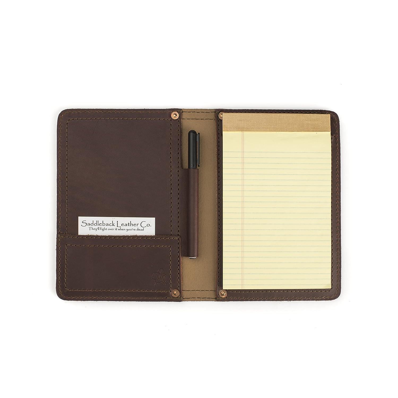 Saddleback pequeño Bloc de notas de piel, cartera portadocumentos de escritura con 100 años de garantía, Fits legal 5 x 7.: Amazon.es: Oficina y papelería