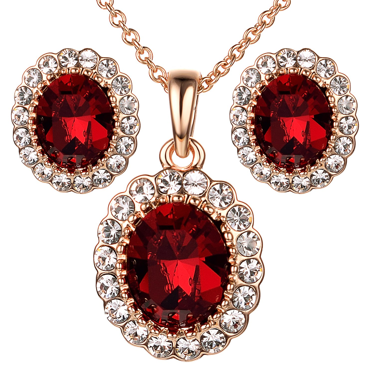 Yoursfs Created Ruby Jewelry Set for Women Rose GP Burgundy Red Oval Crystal Pendant Necklace & Stud Earrings Italina S413R2-CA