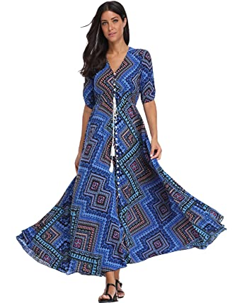 d55dd6a31403 BestWendding Summer Floral Print Maxi Dress Women Button up Split Long Flowy  Bohemian Beach Party Dresses