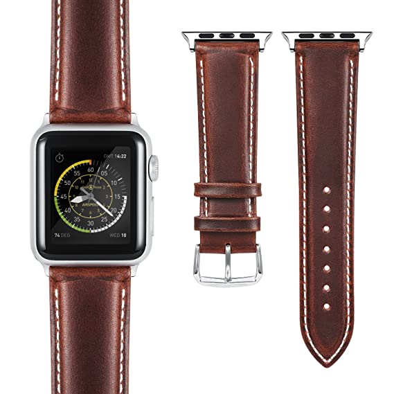 4aa0c8d2f Benuo Leather Watch Band for Apple Watch Series 4, 44/42mm Premium Genuine  Leather
