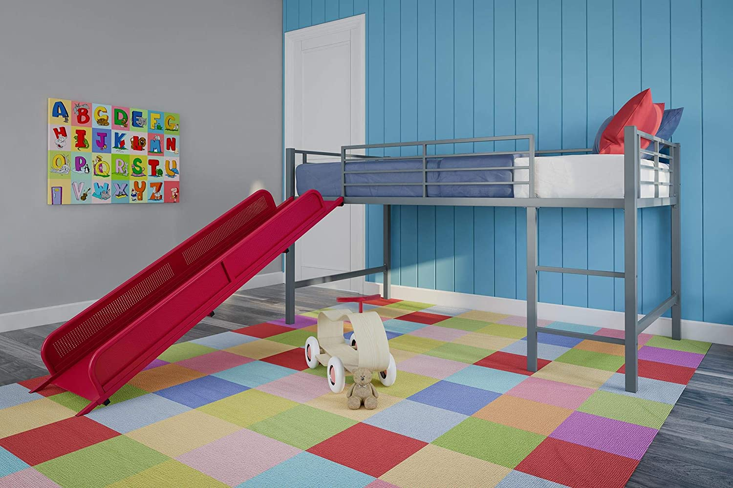 DHP Junior Twin Metal Loft Bed with Slide, Multifunctional Design, Silver with Blue Slide Dorel Home Furnishings 005513198