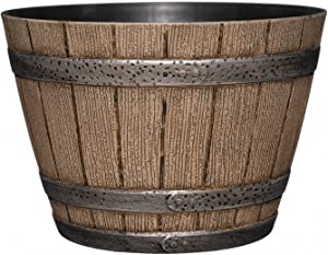 "Whiskey Barrel Planter, Distressed Oak, 9"" (Durable high density resin construction)"