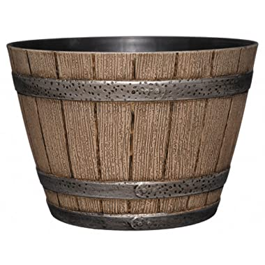 Whiskey Barrel Planter, Distressed Oak, 9  (Durable high density resin construction)
