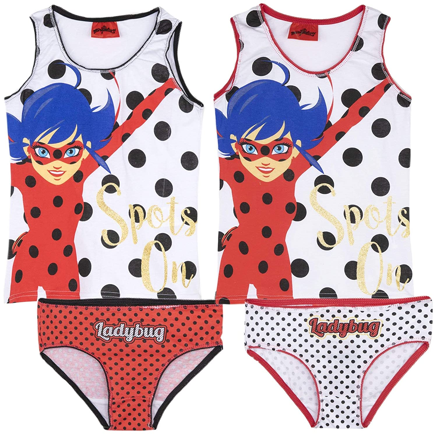 Official Character Girls Boys 100% Cotton Underwear Set Bulk 4 PCS Pack 2 Briefs + 2 Vest Tops Paw Patrol, Peppa, Miraculous, My Little Pony - 2-12 Years