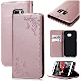 VertTek Coque Cuir pour Samsung Galaxy S7 Motif Fleur Étui à Rabat Magnétique Cas Flip Cover Wallet Case Fonction Support Housse Fente Carte Couverture Interne Silicone Souple Coque de Protection Portefeuille Anti Rayures Design Floral avec Lanyard Strap - Or Rose