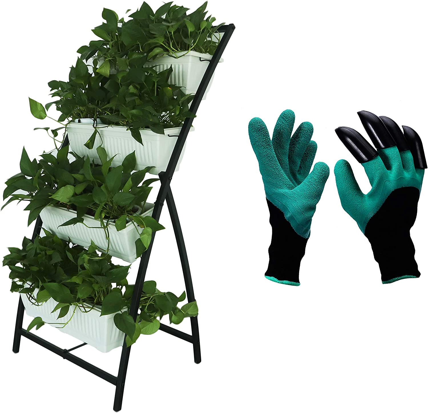 Semblis Outdoors - 6ft Vertical Garden Planter with Gardening Gloves - 4 Box Planters - Free-Standing Tiered Raised Garden Bed - Grow Herbs Vegetables Lettuce Strawberries - for Patio (White)