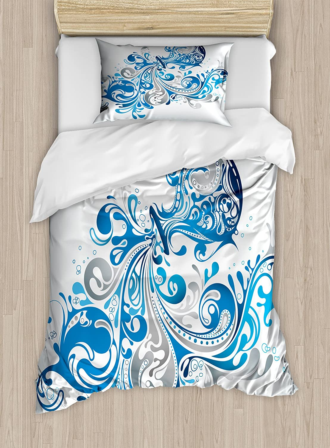 Ambesonne Zodiac Aquarius Twin Size Duvet Cover Set, Bucket with Ornamental Swirled Lines Artistic Scroll Horoscope, Decorative 2 Piece Bedding Set with 1 Pillow Sham, Silver Grey Cobalt Blue