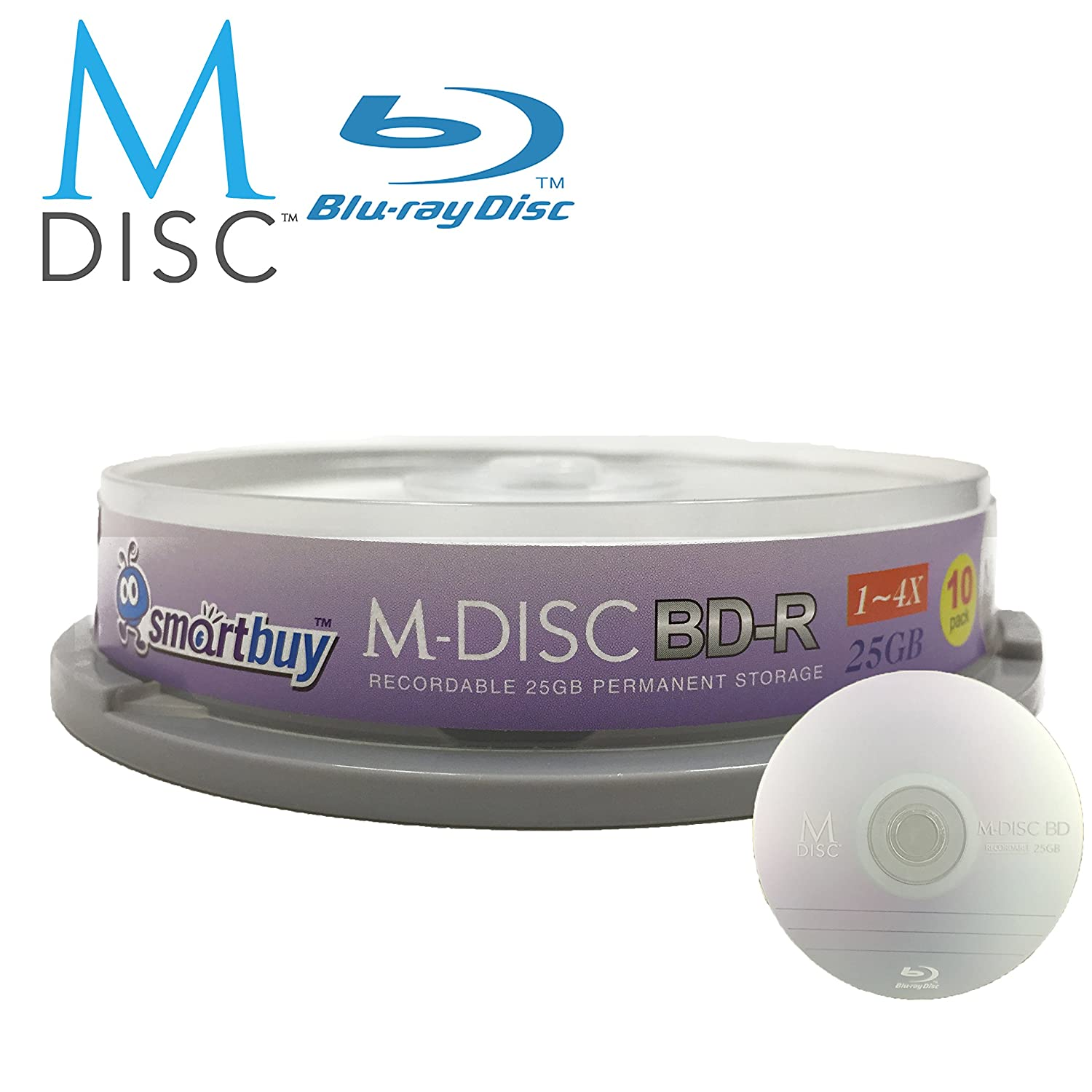 10 Pack Smartbuy M-Disc BD-R 25GB 4X HD 1000 Year Permanent Data Archival / Backup Blank Media Recordable Disc