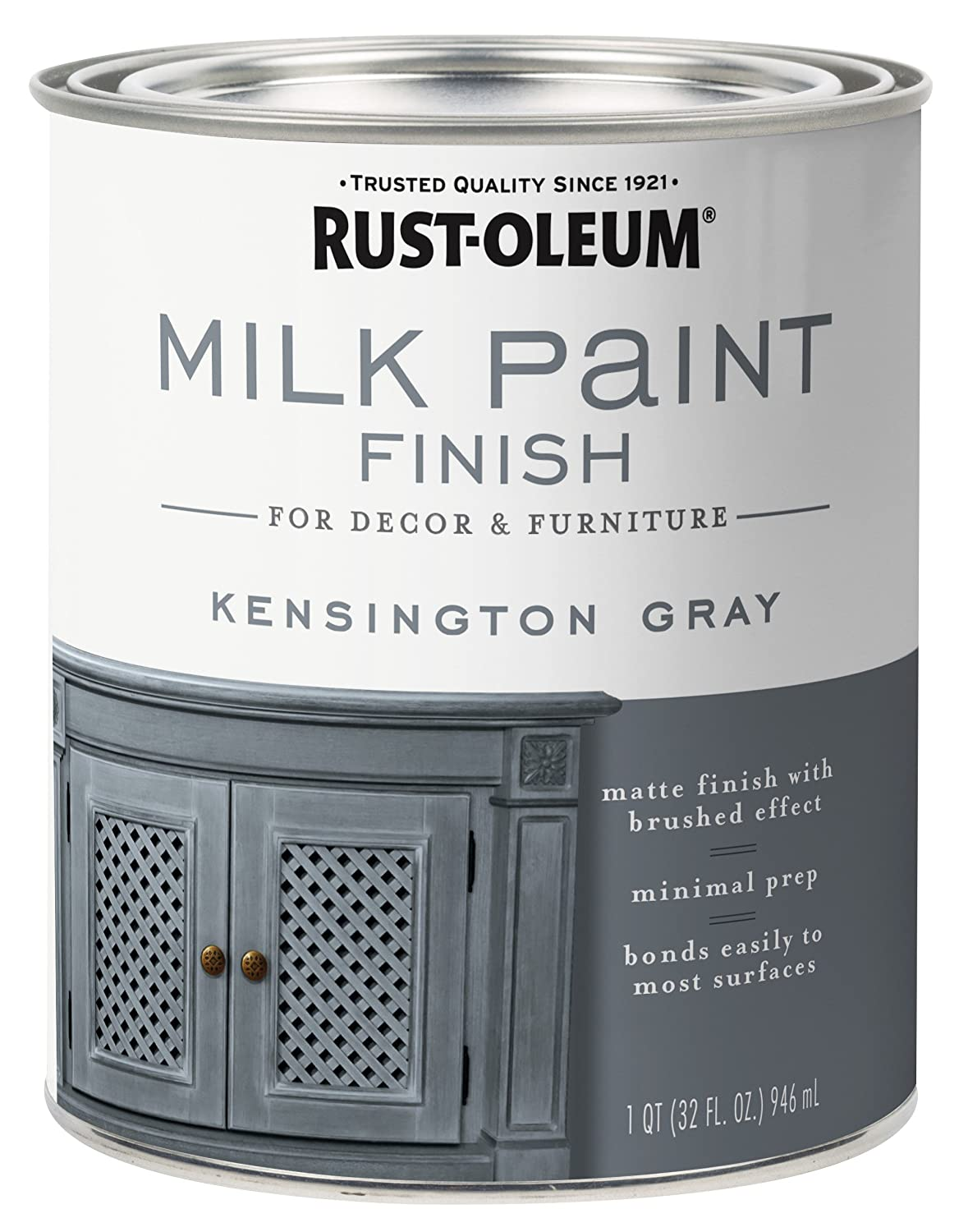 Rust-Oleum 331053 Finish Milk Paint, Quart, Kensington Gray