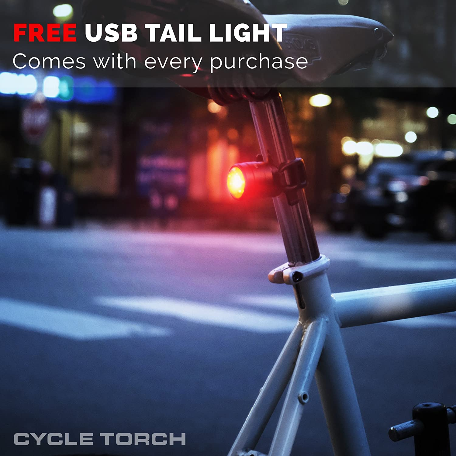 Road Easy Install /& Quick Release 500 Lumens Hybrid FREE Taillight INCLUDED- Cycle Torch Shark 500 Set Black SUPERBRIGHT Bike Light USB Rechargeable LED Fits ALL Bikes MTB