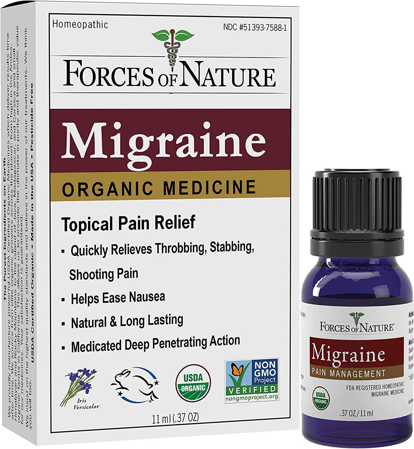 Forces of Nature -Natural, Organic Migraine Pain Relief (11ml) Non GMO, No Harmful Chemicals -Alleviate Prodrome, Aura, Headache, Fatigue, Light and Sound Sensitivity, Nausea Associated with Migraines