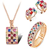 7Ounces - 'Ma reine' - Parure bijoux Femmes/Filles - Bijoux fantaisie - B.O&collier&bracelet - Alliage plaqué or rose - Cristal Swarovski Elements multicolore