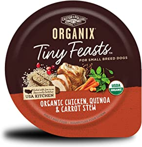 Castor & Pollux Organix Tiny Feasts Organic Chicken, Quinoa & Carrot Stew Dog Food Trays, (12) 3.5oz cans