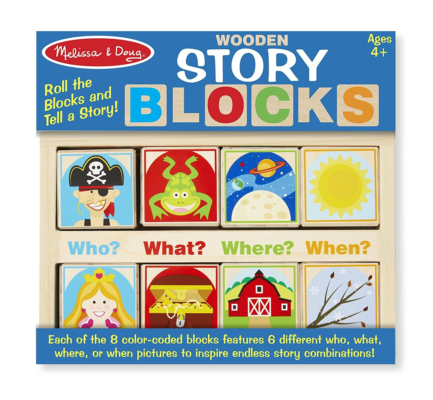 Melissa & Doug Wooden Storyブロック教育玩具 – ブロックをロールand Tell A Story   B00ZY8I9L0