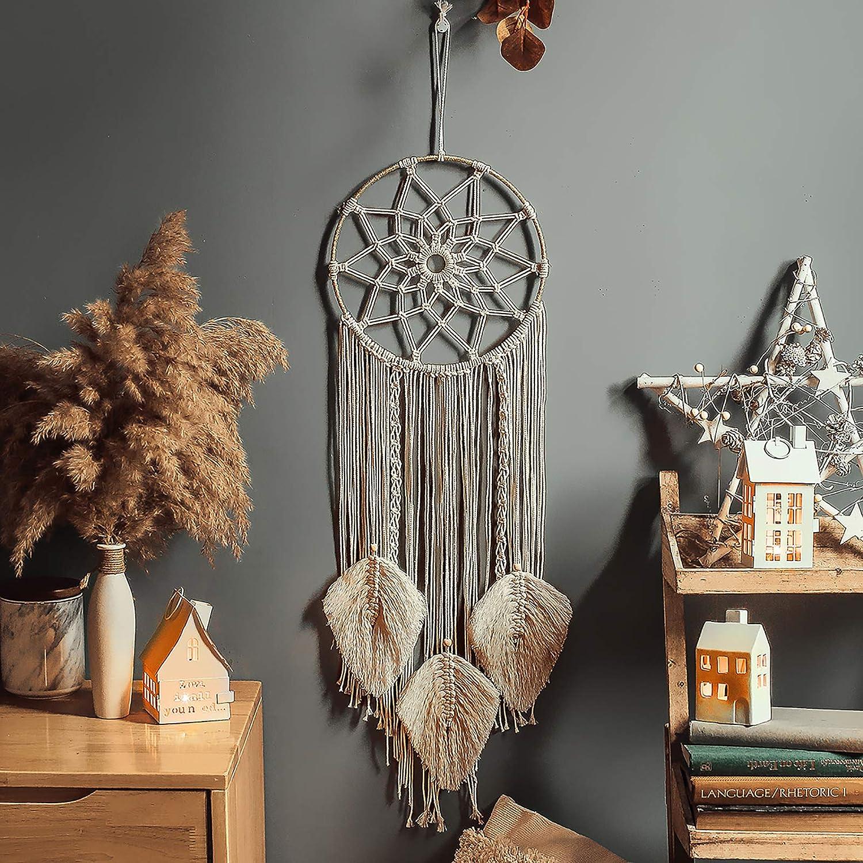 Enmolove Macrame Dream Catcher Wall Decor Handmade Bohemian Home Decor Tassel Wall Hangings Metal Circle
