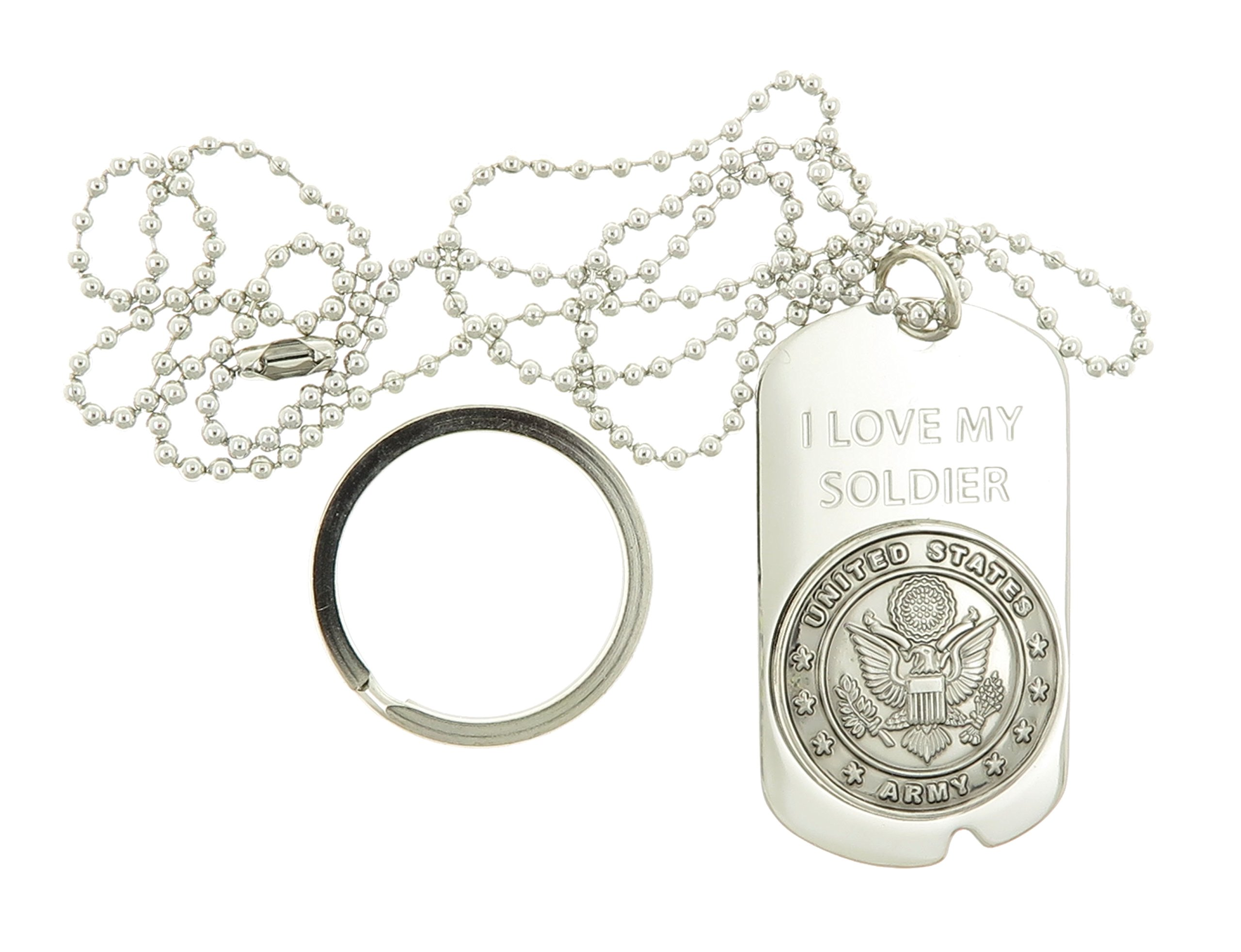 Dog Tag Key Chain Necklace United States US I Love My Soldier Army Seal Crest
